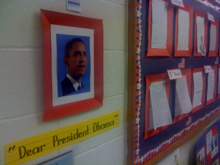 Bush's new neighborhood school celebrates--Obama?
