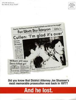 Cullen davis mailer from Kirk Claunch